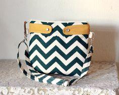 Crossbody Chevron Purse Nautical look Striped handbag canvas handbag Titan/Birch Chevron-- MADE TO ORDER-