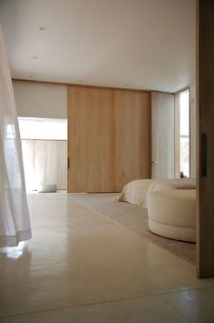 Wooden sliding doors.
