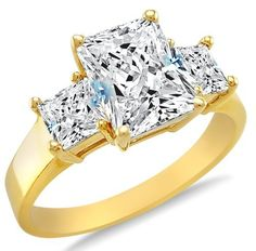 Solid 14k Yellow Gold 3 Three Stone Emerald Cut Solitaire with Princess Cut Side Stones Highest Quality CZ Cubic Zirconia Engagement Ring 2.5ct. Sonia Jewels. $296.00