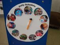 Supporting preschoolers with transitions....this daily schedule with labeled pictures and suggestions for using it are on this site.