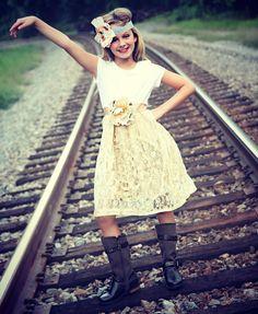 Shabby chic jr bridesmaids RESERVED 4 CRYSTAL  vintage inspired flower girl dress EtsyKids Team. $140.00, via Etsy.