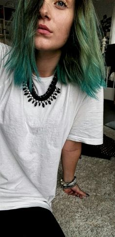 Blue/green/black ombre