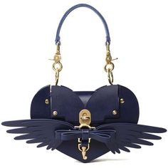 Wings Heart Smooth Leather Shoulder Bag (€520) ❤ liked on Polyvore featuring bags, handbags, shoulder bags, blu, evening handbags, white shoulder handbags, special occasion handbags, top handle purse and white shoulder bag