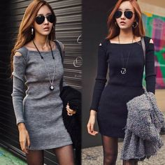 Women's Long Sleeve Knitting Dress Black/Gray Off Shoulder Sleeves Slim Dress S