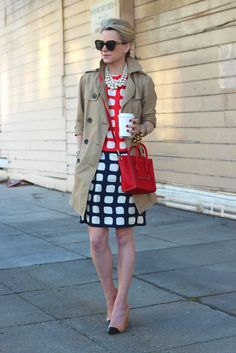 trench + pearls = work chic