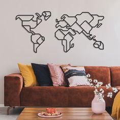 World Map Metal Wall Art - APT403 - 18.8\ x 39.3\ / Black