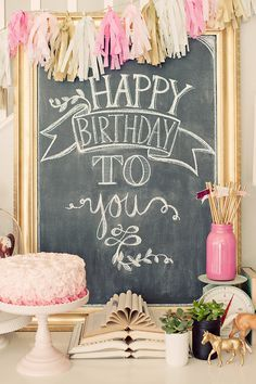 Birthday Chalkboard & Pink birthday party table display with pink ombré cake. Birthday Party Tables, Pink Birthday, Birthday Party Decorations, 1st Birthday Parties, Cake Birthday, Birthday Board, Birthday Logo, Birthday Chalk Boards, Diy Birthday Sign