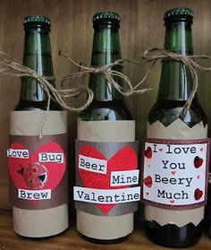 I know these are valentine ideas for guy but how cute would it be for the bride to send the groom a drink before the wedding with a little note on the front! or tied to to it with twine! I love it!