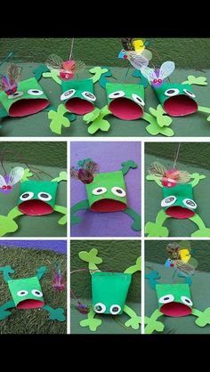 Paper roll croaking frogs crafts for the cuties поделки, дет Frog Crafts, Preschool Projects, Paper Crafts For Kids, Arts And Crafts, Toilet Paper Roll Art, Rolled Paper Art, Rainforest Crafts, Frog Activities, Animal Crafts