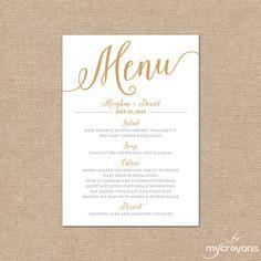 Para imprimir tarjetas de boda de oro boda menú / / Bella de