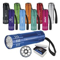 Custom Branded Aluminum Flashlight has a leightweight, rich enamel color finish body with metallic silver accents. It has 9 bright LED bulbs.  It is easy-to-use with its big black push button.  It includes a black strap and batteries.