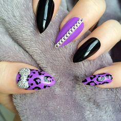 Purple and leopard print stilettos with chain design