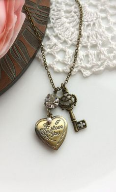 A Romantic Heart I Love You Antiqued Brass Locket Key