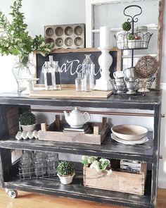 Farmhouse design, home decor, vintage farmhouse, bookcase styling