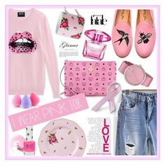 """""""I wear pink for ---"""" by chloe-86 ❤ liked on Polyvore featuring Markus Lupfer, MCM, Royal Albert, Bling Jewelry, Del Toro, NARS Cosmetics, Topshop, Versace, Marc by Marc Jacobs and Pink"""