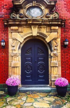 red brick sandstone surround deep blue or purple door