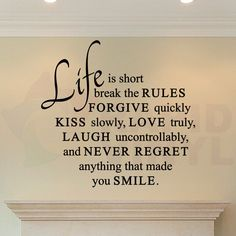 Life Is Short Love Quote Wall Decal. Forgive Kiss by RapidVinyl, $9.95