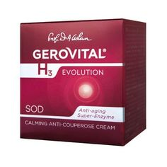 GEROVITAL H3 EVOLUTION, Calming Anti-Couperose Cream with Superoxide Dismutase (Anti-Aging Super-Enzyme) by GEROVITAL H3 EVOLUTION. $39.95. BENEFITS: Skin Looks Uniform, Relaxed, Visibly Calmed.. Genuine Gerovital. The Cream Reduces the Skin's Sensitivity, the Predispositions to Couperose, Diminishing the Couperose Related Signs.. The Superoxide Dismutase Together with the Vitamins A and E Gives the Cream Its Antioxidant and Neutralizing Action Against the Factors ...