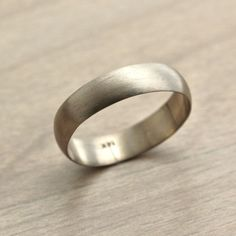 Men's White Gold Wedding Band, 5mm Half Round Recycled 14k Palladium White Gold Ring Brushed Band Groom - Made to Order.