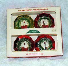 Boxed Set of 4 Vintage Plastic JewelBrite Octagon Shape w Candles Ornaments..