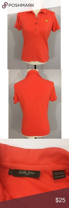 The Masters Bobby Jones Orange Polo Shirt Small It is in very good condition with no holes or stains. bobby jones Tops Blouses