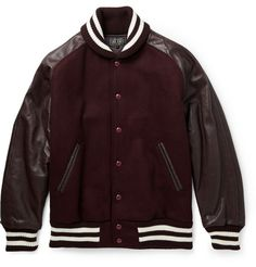 Beams Plus Leather and Wool-Blend Bomber Jacket   | MR PORTER