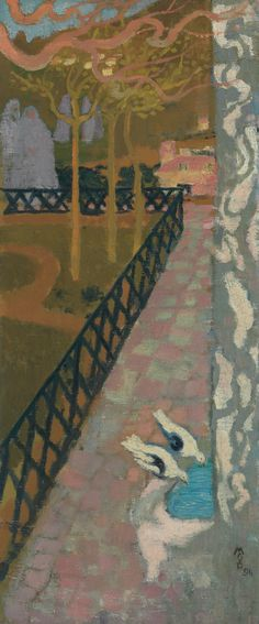 Maurice Denis (1870-1943)  Les deux colombes - The Two Doves (1894) oil on canvas 61 x 26 cm