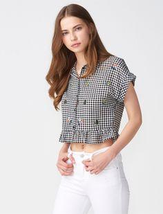 Dilvin - Dılvın Siyah Kadın Bluz/Gömlek Nakışlı Pötikare Mini Gömlek