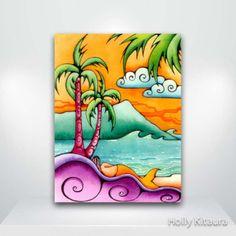 Items similar to Mermaid Cove Tropical Beach Fine Art Giclée Print on Etsy Art Drawings For Kids, Colorful Drawings, Drawing For Kids, Easy Drawings, Hawaiian Art, Mermaid Art, Mermaid Cove, Surf Art, Arte Pop
