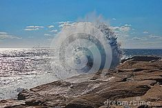 Waves crash on the rocks at Peggy`s Cove, Nova Scotia, Canada. Site is located on the Atlantic Ocean, not far from Halifax. Canada Site, Atlantic Ocean, Nova Scotia, The Rock, Niagara Falls, Rocks, Waves, Stock Photos, Nature