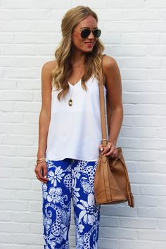 Lilly Pulitzer Cambridge Palazzo Pant in Quahog Chowdah, worn by @Marissa // Style Cusp