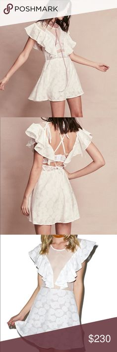 1 hr Sale🌼For Love and Lemons Buttercup Dress Price firm. For Love & Lemons Buttercup Mini Dress.  this gorgeous little dress is beautifully constructed from a super soft burnout daisy print and flattering A-line flowing skirt with nude lining. Featuring a slim fitting sheer bodice perfect for wearing solo or layering a pretty bralette underneath with cascading ruffle accents and sensual open back with dual tie closures.  Materials: 55% Silk, 45% Cotton; Lining: 100% Nylon Dry Clean Only…
