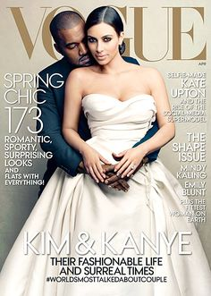 Brides: It Finally Happened: Kim Kardashian and Kanye West are on the Cover of Vogue