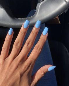 Blue Acrylic Nails, Acrylic Nails Coffin Short, Simple Acrylic Nails, Square Acrylic Nails, Summer Acrylic Nails, Acrylic Nail Designs, Summer Nails, Coffin Nails, Acrylic Art