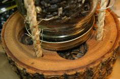 Mason Jar Log Bird Feeder