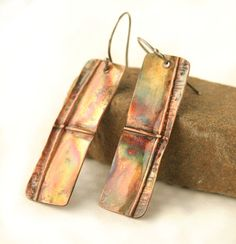 Autumn statement earrings folded metal handmade by JudysDesigns
