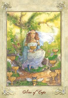 Llewellyn Tarot (by Anna-Marie Ferguson): 9 of Cups Tarot Card Decks, Tarot Cards, Nine Of Cups, Knight Of Cups, Free Tarot Reading, Online Tarot, Cup Art, Celtic Tree, Deck Of Cards