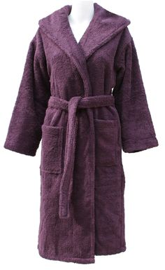 Lewes mulberry luxury towelling hooded bathrobe by Cottonvale Luxury  Towels 1b8171402