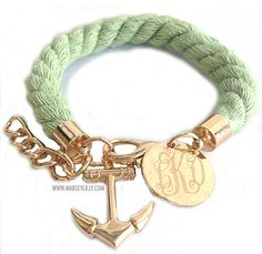 Monogrammed Green Rustic Rope Bracelet with Anchor Charm. Marine bio babe for life ! Personalized Wedding Gifts, Monogram Gifts, Rope Jewelry, Charm Jewelry, Boat Fashion, Anchor Charm, Marley Lilly, Nautical Jewelry, Diy Necklace
