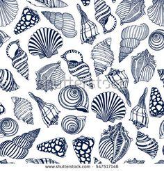 Fashion Illustration Patterns Vector seamless pattern with hand drawn seashells. Beautiful marine design elements, perfect for prints and patterns. Motif Design, Design Elements, Pattern Design, Print Design, Shell Art, Fish Art, Doodle Art, Sea Shells, Print Patterns