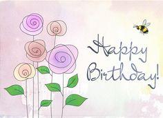 Flowers and bee - Happy Birthday! Happy Birthday Kind, Happy Birthday Clip Art, Birthday Clips, Happy Birthday Pictures, Happy Birthday Quotes, Happy Birthday Greetings, Birthday Messages, Birthday Greeting Cards, Birthday Fun