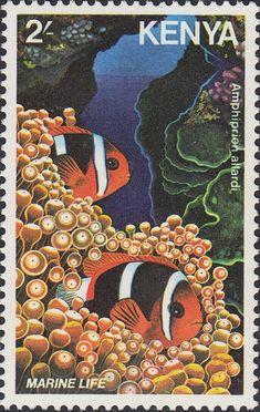 Vintage Stamps, African Animals, Stamp Collecting, Kenya, Oriental, Wildlife, Clownfish, Birds, Tao