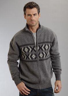 Stetson Mens Wool Blend Aztec Border Cardigan Sweater Heath Gray er Zip