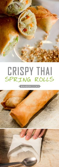 Thai Spring Rolls Crispy Thai Spring Rolls - No more take-away, these EASY prep spring rolls are perfect for clearing out the fridge. Thai Spring Rolls, Chicken Spring Rolls, Easy Spring Rolls, Chinese Spring Rolls, Homemade Spring Rolls, Thai Dishes, Protein Snacks, Asian Cooking, It Goes On