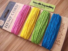 Hemp Cord Card - Razzle Dazzle Collection - Pink Yellow Green Blue - 20lb / 1mm cord Hemptique Four Pack Premium Quality Hemp Cord by LoveEllieBagMaking Find it now at http://ift.tt/29Dwj1e!