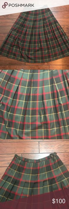 """Vintage Pendleton Wool Skirt 14W Green Red Plaid Excellent condition. No flaws. 100% virgin wool. Made in the USA. The size is 14W but please see measurements as vintage sizes can vary. Measurements taken laid flat: waist approximately 15"""", length approximately 33 1/2"""" Pendleton Skirts A-Line or Full"""