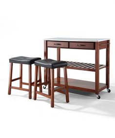 Another great find on #zulily! Cherry Stainless Steel Top Wheeled Kitchen Cart & Stool Set by Crosley #zulilyfinds