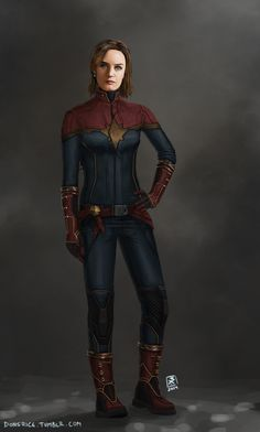 Artist's Take on Emily Blunt as Captain Marvel. I don't see the actress but I LOVE the uniform. O_O. http://40.media.tumblr.com/b601799bba055733073f385763cd2e85/tumblr_nibww8pWXY1rz92c4o1_r1_1280.jpg