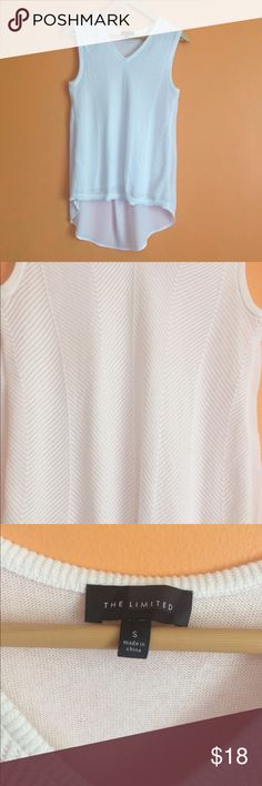 """Sleeveless dressy sweater blouse chiffon back white sleeveles lightweight sweater front/blouse. Front is lined. Clean. No defects. V-neck. No pilling. Casual or dressy.  17"""" armpit to armpit 25-31"""" long The Limited Tops"""