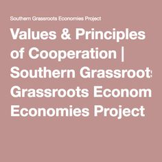 Values & Principles of Cooperation | Southern Grassroots Economies Project